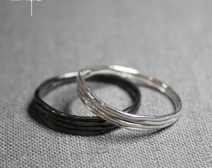 Paired Wedding Rings for men women  Penelope Tree Branch RIng 14K White Gold Wedding Band,Male silver tree branch ring Engagement Rings