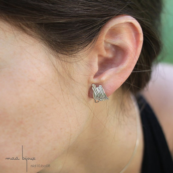 Sterling Silver Earrrings Lobe Earrings Curved Wire Modern Etsy