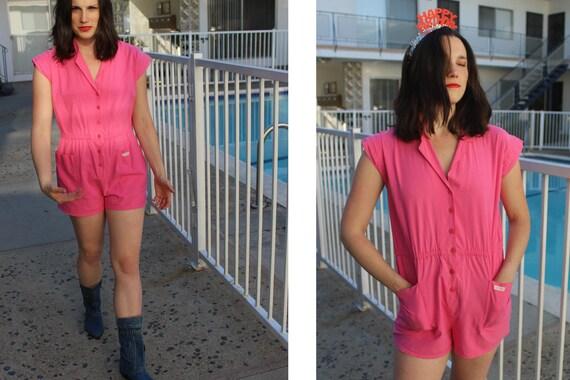Super 80s 90s Vintage Pink Playsuit Romper // Butt