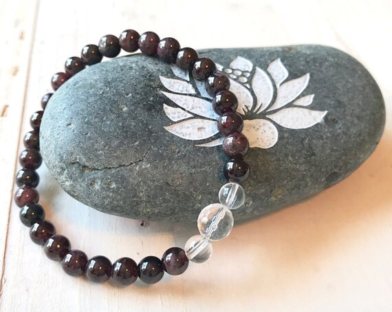 Root Chakra Bracelet, Red Garnet Gemstone Bracelet, Bracelet To Match Your Mala Necklace, Yoga Jewelry, Natural Healing Jewelry
