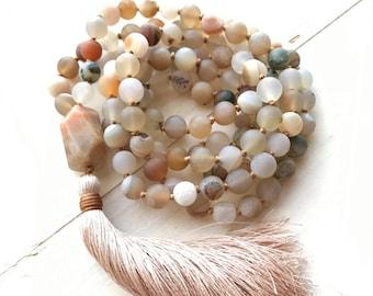 MOONSTONE MALA BEADS - Cleanse Negativity Mala - Druzy Agate Mala Necklace  - Natural Healing Mala Beads - Hand Knotted - Chakra Healing