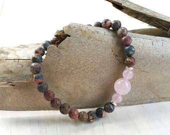 Jasper Stretch Bracelet, Mala Inspired Jewelry, Yoga Bracelet, Rose Quartz and Leopardskin, Boho Style Jewelry, Natural Healing Bracelet