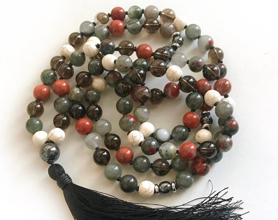 ROOT CHAKRA MALA - Bloodstone Mala Beads - Mala Necklace With Red Jasper, Smokey Quartz, Howlite and Hematite - 108 Beads Mala - Yoga Beads