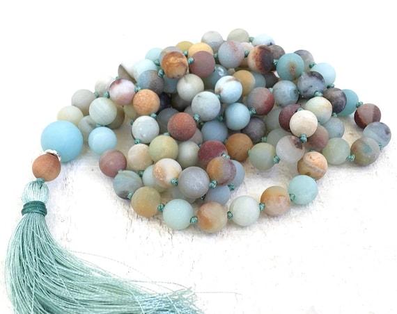 MALA FOR CONFIDENCE - Amazonite Mala Beads - 108 Bead Hand Knotted Mala - Matte Stone Mala - Earthy Mala Bead Necklace - Yoga Meditation