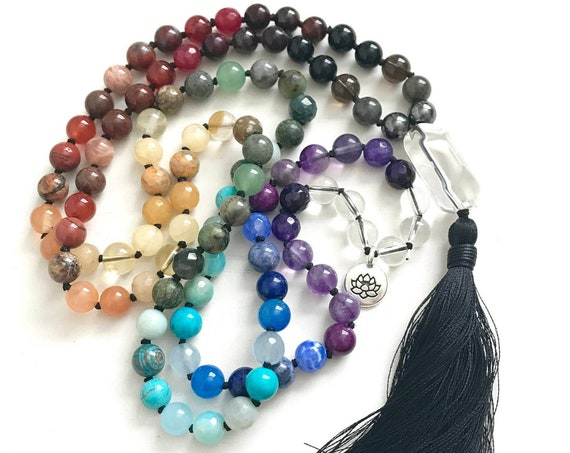 BALANCE THE CHAKRAS - Mala Beads -  Chakra Healing Mala Necklace, Mala Beads 108, Yoga Meditation beads, Prayer Beads - Mixed Stone Mala