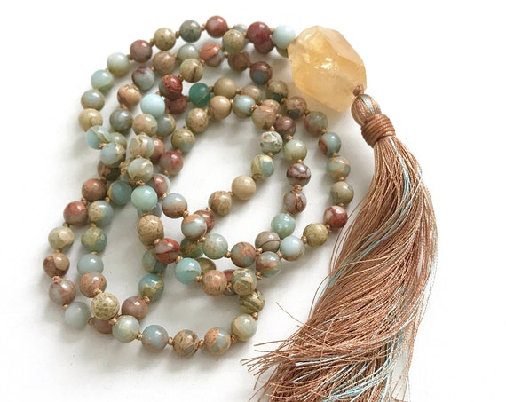 NEW BEGINNINGS MALA - Citrine Mala Beads - African Opal Mala Necklace - Yoga Meditation Beads - Knotted Mala - Prayer Beads - Mantra Mala