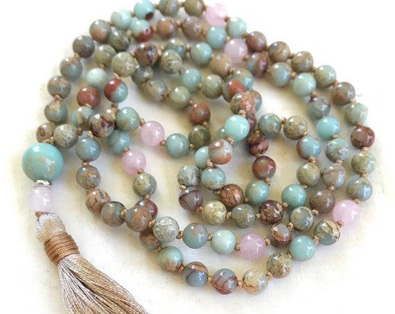 African Opal & Rose Quartz Mala Beads, Mala For Chakra Cleansing, 108 Bead Mala Necklace, Yoga Meditation Beads, Natural Healing Mala