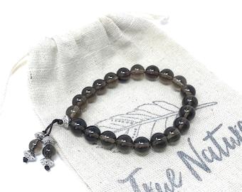 Smoky Quart Mala Bracelet, Beaded Stretch Bracelet, Bracelet To Match Your Mala Beads, Yoga Jewelry, Yoga Meditation Beads, Boho Jewelry