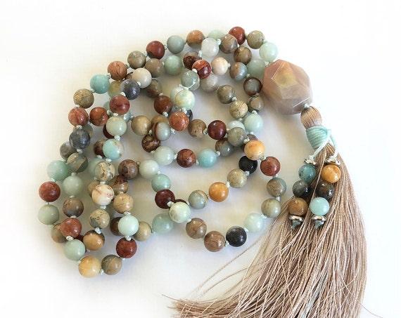 POSITIVE OUTLOOK - Mala Beads - African Opal Mala Necklace - Amazonite Mala - Orange Moonstone Guru Bead - 108 Mala Beads Hand knotted