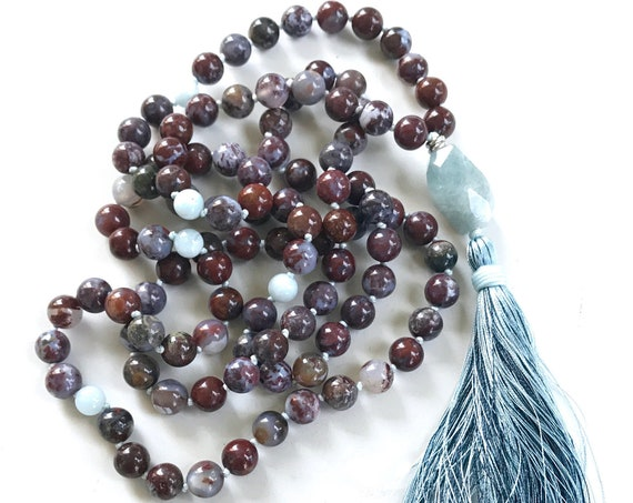 QUIET THE MIND - Mala Beads - Red Lightning Agate Aquamarine Mala Necklace - 108 Beads Mala - Tassel Mala Beads, Yoga Meditation Beads