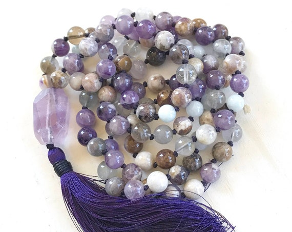 MALA FOR ADDICTIONS - Flower Amethyst Mala Beads - Calm Your Fears Mala Necklace - 108 Bead  Mala - Aquamarine Mala - Meditation Mala Beads