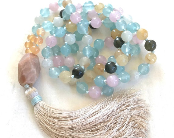 FERTILTY MALA BEADS - Healing Mala For Women - Healing The Heart Mala - Moonstone, Rose Quartz, Chrysoprase, Jade, Carnelian  -  108 Beads