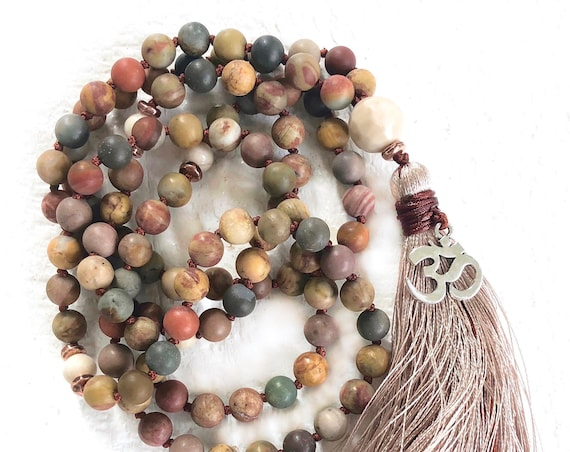 JASPER MALA BEADS - Mala For Change - Riverstone Mala Necklace - Earthy Hand Knotted Mala - 108 Mala Beads - Boho Style Mala Beads