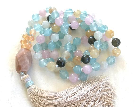 Mala Beads For Fertility - Natural Healing Mala Necklace - Women's Mala - 108 Mala Beads - Hand Knotted Mala - Yoga Meditation Beads