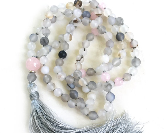 RELEASE AND HEAL - Mala Beads - Wind Shadow Agate Mala Necklace - Rose Quartz Mala - 108 Bead Mala - Hand Knotted - Mantra Mala Beads
