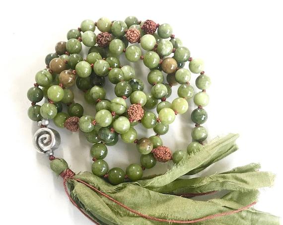 CALMING JADE MALA - Rudraksha Mala Beads Necklace - 108 Beads Mala - Earthy Meditation Mala - Unique Mala Gift Idea - Gemstone Mala