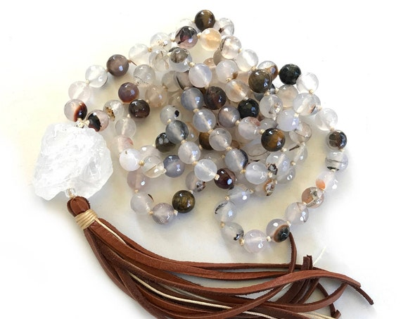 MALA FOR FOCUS - Tiger Eye Mala Beads - White Agate Mala Necklace - 108 Knotted Mala Beads - Solar Plexus Chakra Mala - Crystal Healing Mala