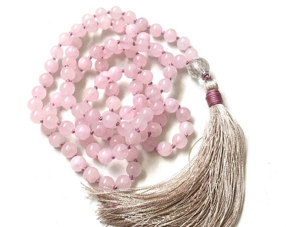 INNER PEACE MALA - Rose Quartz Mala Beads - Quartz Mala Necklace, Pink Mala Beads - Mala For Self Love - Hand Knotted - 108 Bead Mala