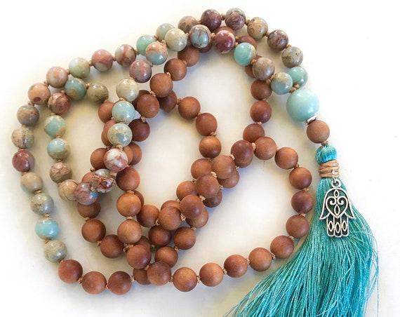 POSITIVE VIBRATION - Mala Beads - Sandalwood Mala Necklace - African Opal Mala - Mala Beads 108 - Meditation Beads - Yoga Mala Beads