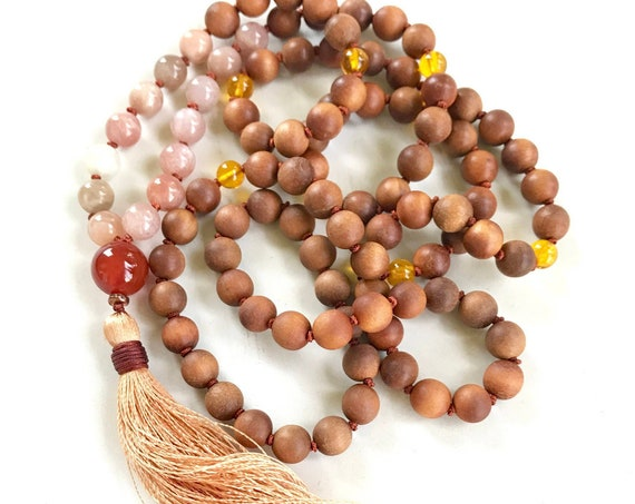 MALA FOR HAPPINESS - Sunstone Moonstone Mala Beads - Sandalwood Mala Necklace - Carnelian And Citrine - 108 Beads - Remove Bad Vibrations
