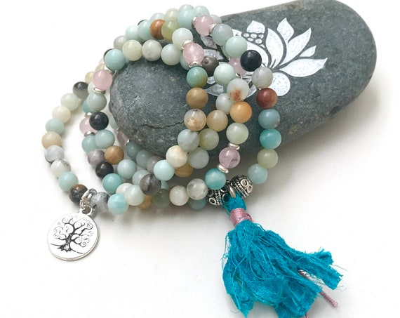 Amazonite Stretch Mala Bracelet, Rose Quartz Mala, Mala Bead Wrap Bracelet, 108 Mala Bead Necklace Or Bracelet, Yoga Mala Beads, Mantra Mala
