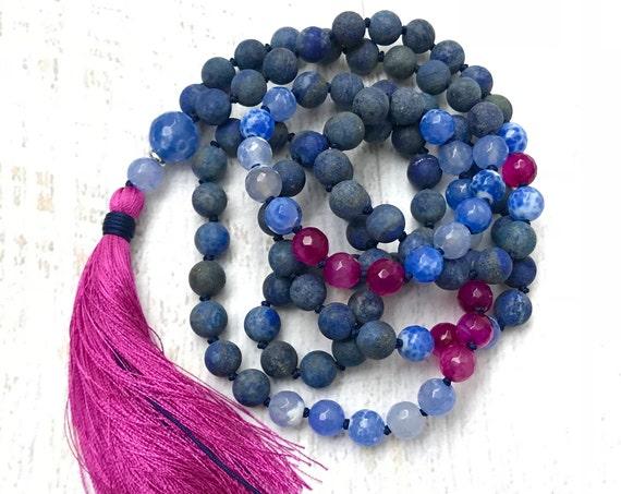 Mala To Ward Off Negative Energy, Lapis Lazuli Mala Necklace, Fire Crackle Agte Mala, 108 Bead Mala, Blue Mala Beads, Pink Silk Tassel Mala