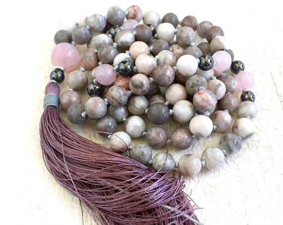 MALA FOR BALANCE - Pink Zebra Jasper Mala Beads - Hematite & Rose Quartz Mala Necklace - Mala To Ease Stress - Silk Tassel Mala - 108 Bead