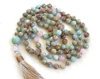 African Opal & Rose Quartz Mala Beads, Mala For Chakra Cleansing, 108 Bead Mala Necklace, Yoga Meditation Beads, Natural Healing Mala