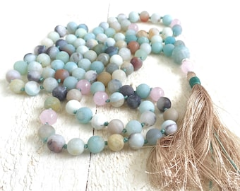 Mala For Calming - Amazonite Mala Beads - 108 Bead Mala - Rose Quartz Amazonite Mala - Yoga Meditation Beads - Japa Mala