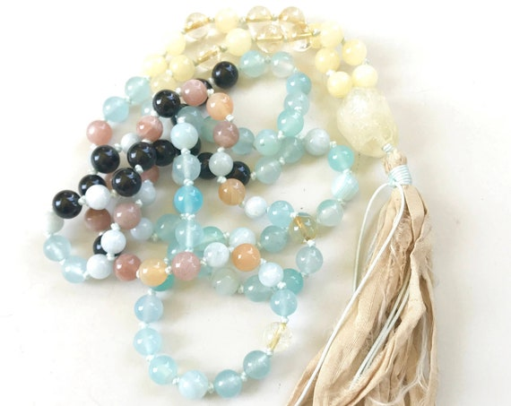 MALA FOR JOY - Mala Beads to bring Calming, Grounding, Strength And Protection - 108 Mala Beads - Hand Knotted