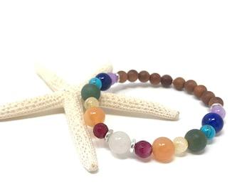 Chakra Healing Bracelet, 7 Chakra Colors, Yoga Jewelry, Matching Bracelet For Mala Beads, Spiritual Jewelry, Stretch Mala Bracelet