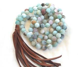 Leather Tassel Mala Beads, Amazonite Mala Necklace, 108 Bead Mala, Boho Chic Mala Beads, Yoga Mantra Mala, Hand Knotted Mala Beads