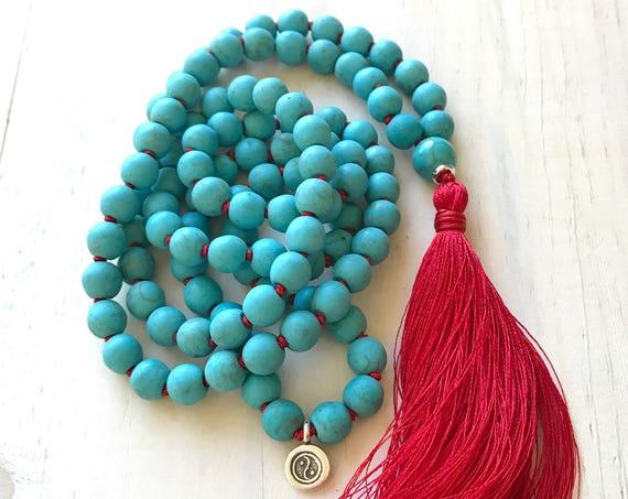 NEW BEGINNINGS MALA - Howlite Mala Beads - Pick Your Charm - Hand Knotted - 108 Mala Beads