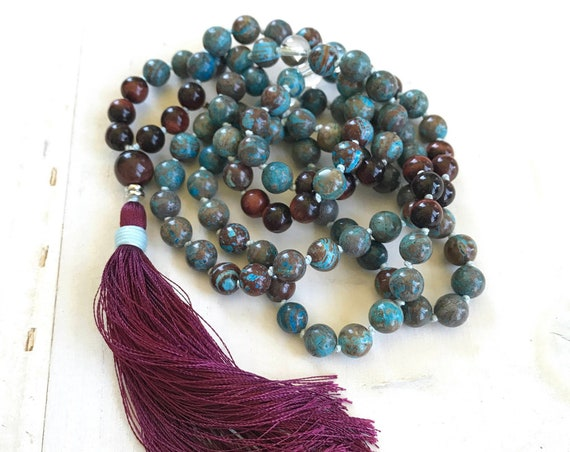 BALANCE THE EMOTIONS - Mala Beads - Blue Sky Jasper Mala Necklace - Clear Quartz And Red Tiger Eye - 108 Mala Beads - Hand Knotted