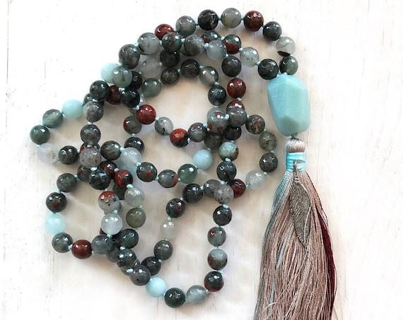 COURAGE MALA BEADS - Bloodstone Mala Necklace - Root Chakra Mala - Amazonite Guru Bead - Hand Knotted Between Beads - 108 Beads Mala