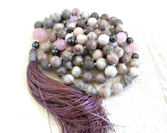 EASE EMOTIONAL STRESS - Mala Beads - Pink Zebra Jasper Mala Necklace - Mala For Natural Healing - Meditation Mala Beads - 108 Mala Beads
