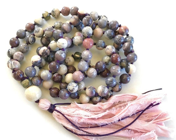 CALM & STABILITY - Mala Beads - Porcelain Jasper Mala Necklace - 108 Beads Mala - Natural Healing Mala Beads - Jasper Mala - Knotted Mala
