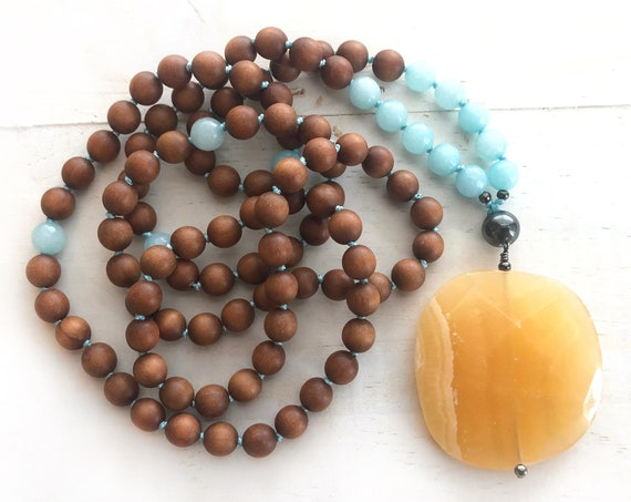 Sunshine Mala Beads - Orange Calcite Mala Necklace - Sandalwood Mala - Amazonite Beads - 108 Mala Beads - Hand Knotted Mala - Yoga Beads