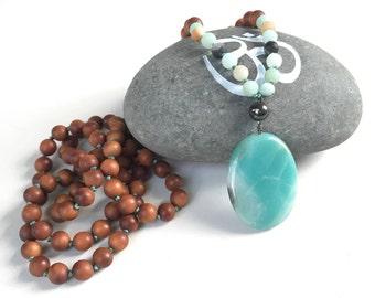 POSITIVE VIBRATIONS MALA - Sandalwood Mala Beads - Amazonite And Hematite Mala Necklace - Mala Beads 108, Natural Healing Jewelry