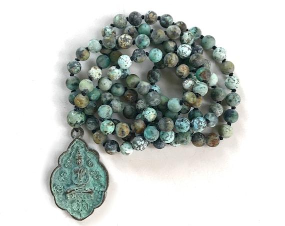 POSITIVE CHANGE MALA - African Turquoise Mala Beads - Buddha Pendant Necklace - 108 Beads Mala - Third Eye Chakra Healing - Yoga Jewelry