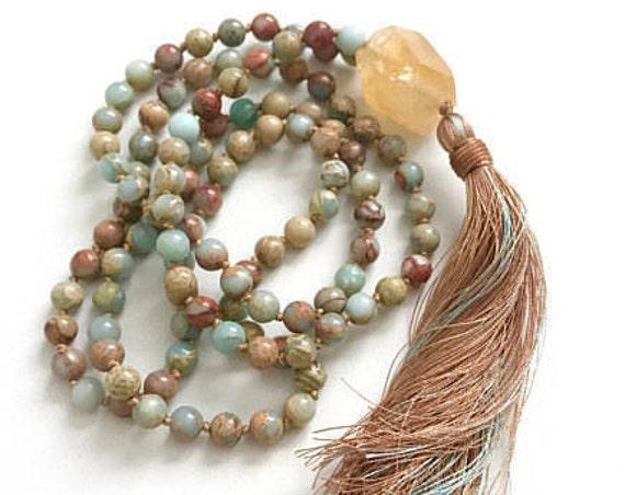 AWAKEN YOUR MIND - Mala Beads - Citrine Mala Necklace - African Opal Mala - Energizing Mala Beads - Hand Knotted 108 Mala Beads