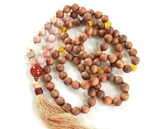MALA FOR HAPPINESS - Sunstone Moonstone Mala Necklace -  Mala Beads To Cleanse Negativity - 108 Bead Mala - Sandalwood and Citrine Mala