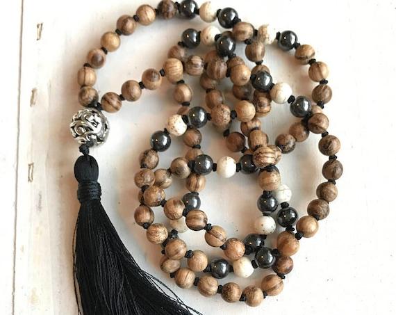 108 Bead Agarwood Mala, Fragrant Mala Beads, Knotted Mala Necklace, Meditation Necklace, Natural Healing Mala Beads, Tassel Mala Beads