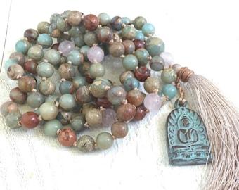 BALANCE THE CHAKRAS - Mala Beads - African Opal Mala Necklace - Buddha Mala - 108 Mala Beads - Hand Knotted Mala - Meditation Beads