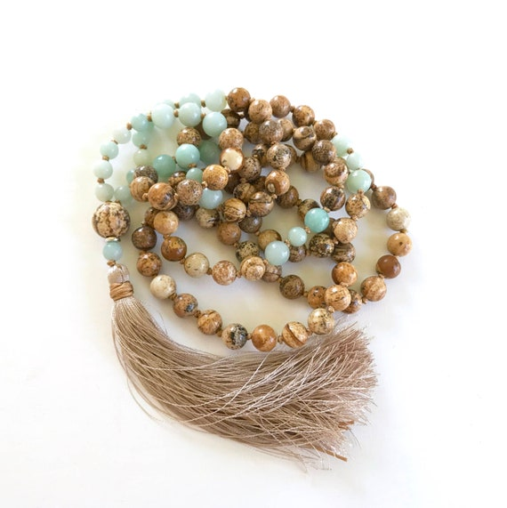 Picture Jasper Mala Beads, Amazonite Mala Necklace, Mala Beads for Stress Relief, Hand Knotted Mala With Silk Tassel, 108 Bead Gemstone Mala