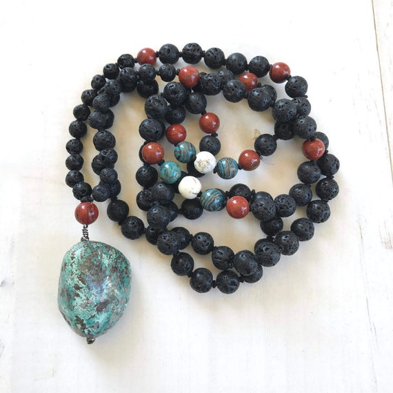 Wisdom Mala Beads, Turquoise And Lava Mala Beads, Mens Mala, Unisex Mala, Mala For Grounding, Root Chakra Mala, 108 Bead Mala
