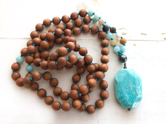POSITIVE VIBRATIONS MALA - Sandalwood Mala Beads - Amazonite And Hematite Mala Necklace - Mala Beads 108, Natural Healing Jewelry