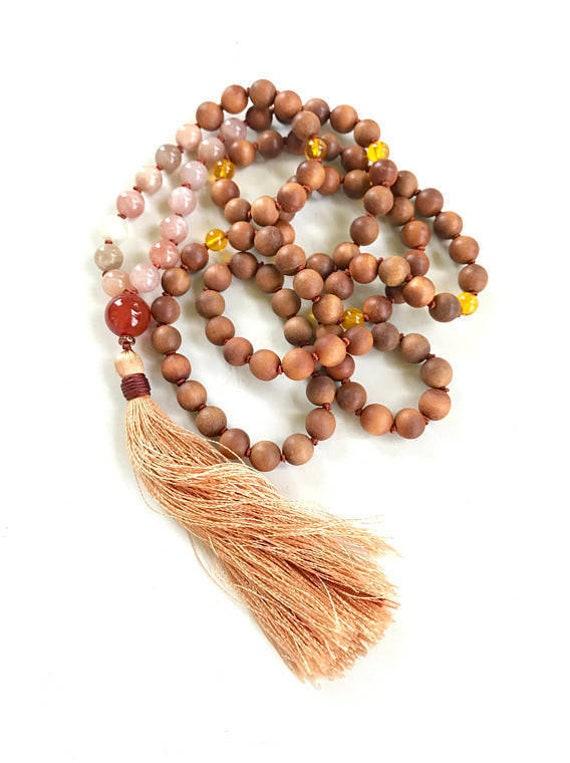 MALA FOR HAPPINESS - Sunstone Moonstone Mala Necklace -  Mala Beads To Cleanse Negativity - 108 Bead Mala - Sandalwood and Citrine Mala