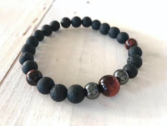 Black Lava Mala Bracelet, Unisex Natural Healing Bracelet, Mens Bracelet,  Lava, Tiger Eye and Hematite Stretch Bracelet