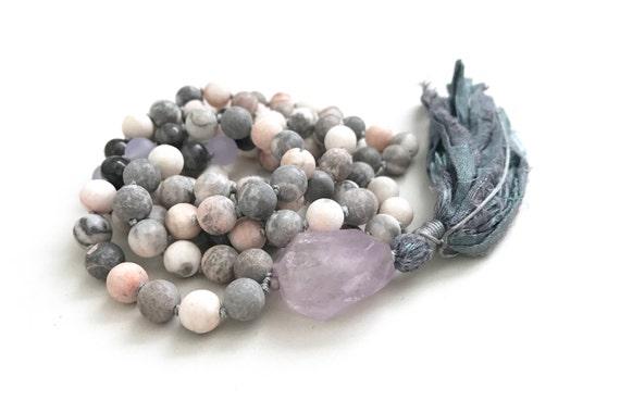 CALM THE MIND - Mala Beads - Pink Zebra Jasper Labradorite Mala Necklace - 108 Mala Bead - Knotted Mala - Amethyst Guru Bead - Tassel Mala